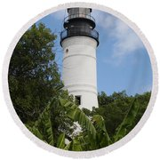Round Beach Towel featuring the photograph Key West Lighthouse  by Christiane Schulze Art And Photography