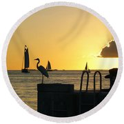 Round Beach Towel featuring the photograph Key West Sunset by Olga Hamilton