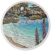 Keyhole Rock Laguna Round Beach Towel by Jane Girardot