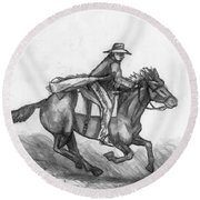 Round Beach Towel featuring the drawing Kickin Up Dust by Shana Rowe Jackson