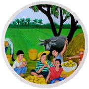 Kids Eating Mangoes Round Beach Towel by Cyril Maza