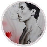 Anthony Kiedis - ' Kiedis Apache Soul ' Round Beach Towel by Christian Chapman Art