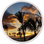 Kihei At Dusk Round Beach Towel by Peggy Hughes