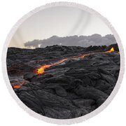 Kilauea Volcano 60 Foot Lava Flow - The Big Island Hawaii Round Beach Towel
