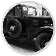 Kilbeggan Distillery's Old Car Round Beach Towel by RicardMN Photography
