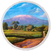 Kilimanjaro Round Beach Towel by Anthony Mwangi