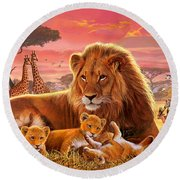 Kilimanjaro Male Lion With Cubs Round Beach Towel