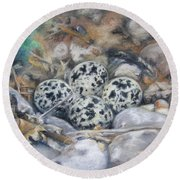 Round Beach Towel featuring the drawing Killdeer Nest by Lori Brackett