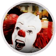 Killer Clowns On The Loose Round Beach Towel by Kelly Awad