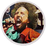 Round Beach Towel featuring the painting Killing In The Name by Joshua Morton