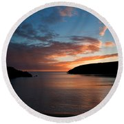 Kilmurrin Cove At Sunset The Copper Round Beach Towel