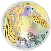 Round Beach Towel featuring the digital art Kindred Light Owl by Kim Prowse