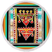 Round Beach Towel featuring the digital art King And Queen by Vagabond Folk Art - Virginia Vivier