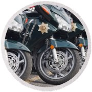 King County Police Motorcycle Round Beach Towel