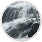 King Creek Falls Round Beach Towel by Jonathan Nguyen