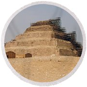 King Djoser The Great Of Saqqara Round Beach Towel