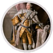 Round Beach Towel featuring the painting King George IIi In Coronation Robes by Celestial Images