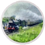 'king George V' Locomotive Round Beach Towel