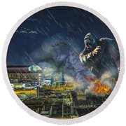 Round Beach Towel featuring the photograph King Kong By Ford Field by Nicholas  Grunas