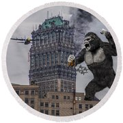 Round Beach Towel featuring the photograph King Kong In Detroit At Wurlitzer by Nicholas  Grunas