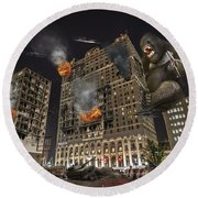 Round Beach Towel featuring the photograph King Kong In Detroit Westin Hotel by Nicholas  Grunas