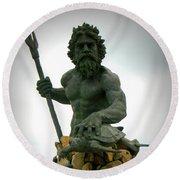 King Neptune Statue Round Beach Towel