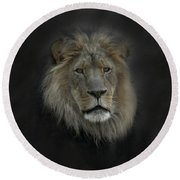 King Of Beasts Portrait Round Beach Towel