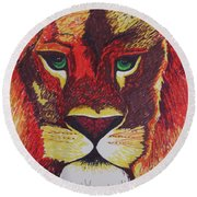 Lion In Orange Round Beach Towel