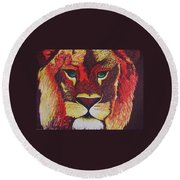 Lion In Orange Round Beach Towel