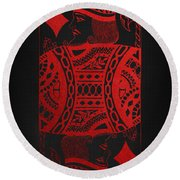 King Of Diamonds In Red On Black Canvas   Round Beach Towel