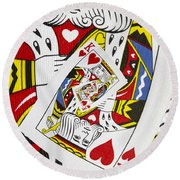 King Of Hearts Collage Round Beach Towel