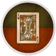 King Of Hearts In Wood Round Beach Towel