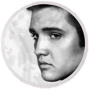 Round Beach Towel featuring the painting King Of Rock Elvis Presley Black And White by Georgi Dimitrov