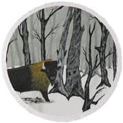 King Of The Woods Round Beach Towel
