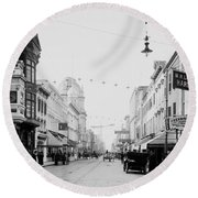 King Street In Charleston South Carolina Circa 1910 Round Beach Towel