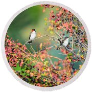 Kingbird Pair Round Beach Towel