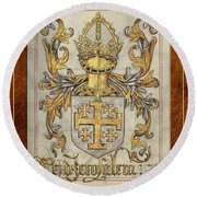 Kingdom Of Jerusalem Medieval Coat Of Arms  Round Beach Towel