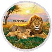 Kings Of The Serengeti Round Beach Towel