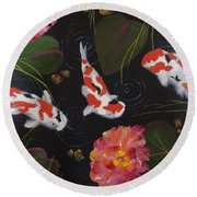 Round Beach Towel featuring the painting Kippycash Koi by Judith Rhue