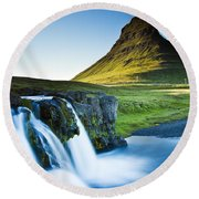 Kirkjufell Mountain Round Beach Towel