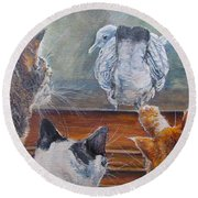 Round Beach Towel featuring the painting Kiss My Assssssss by Donna Tucker