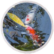Kissin' Koi Round Beach Towel by HEVi FineArt