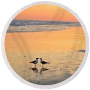 Kissing Birds 2 Round Beach Towel