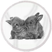 Kissing Bunnies - 035 Round Beach Towel