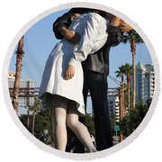 Kissing Sailor - The Kiss - Sarasota Round Beach Towel by Christiane Schulze Art And Photography