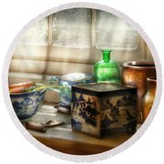 Kitchen - In A Kitchen Window Round Beach Towel by Mike Savad