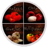 Kitchen Ingredients Collage II Round Beach Towel
