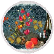 Kitchen - Peaches And Wine Painting  Round Beach Towel by Liane Wright