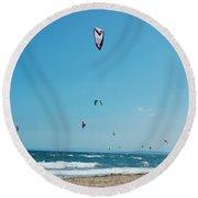 Kitesurf Lovers Round Beach Towel by Gina Dsgn