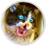 Round Beach Towel featuring the painting Kitten by Daniel Janda
